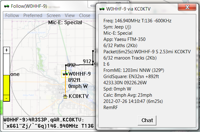 Map Display - APRSISCE/32 The future of Amateur Radio APRS